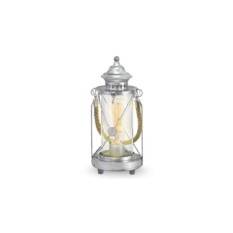 Stolní lampička Eglo 49284 ze série BRADFORD1x60W E27. Materiál kov ve stříbrné patině, čiré sklo . Označení:BRADFOR