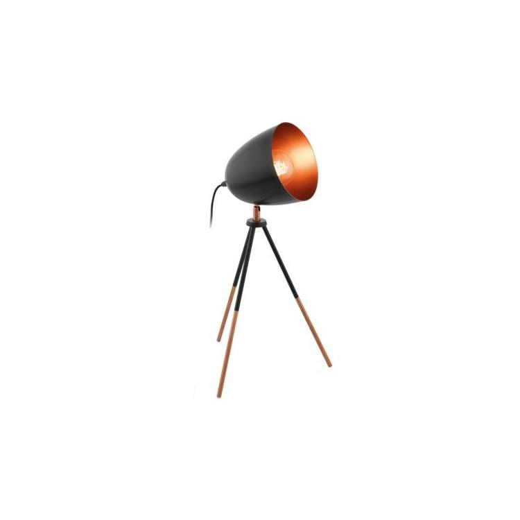 Stolní lampa Eglo 49385 ze série CHESTER 1x60W E27. Materiál: kov. Barva: černá a měděná. Označení: CHESTER,Výrobce: Eglo,