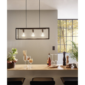 EGLO 49393 CHARTERHOUSE závěsné svítidlo 3x60W E27. Materiál kov v černé barvě a čiré sklo. Označení: CHARTERHOUSE. Výrobce: Egl