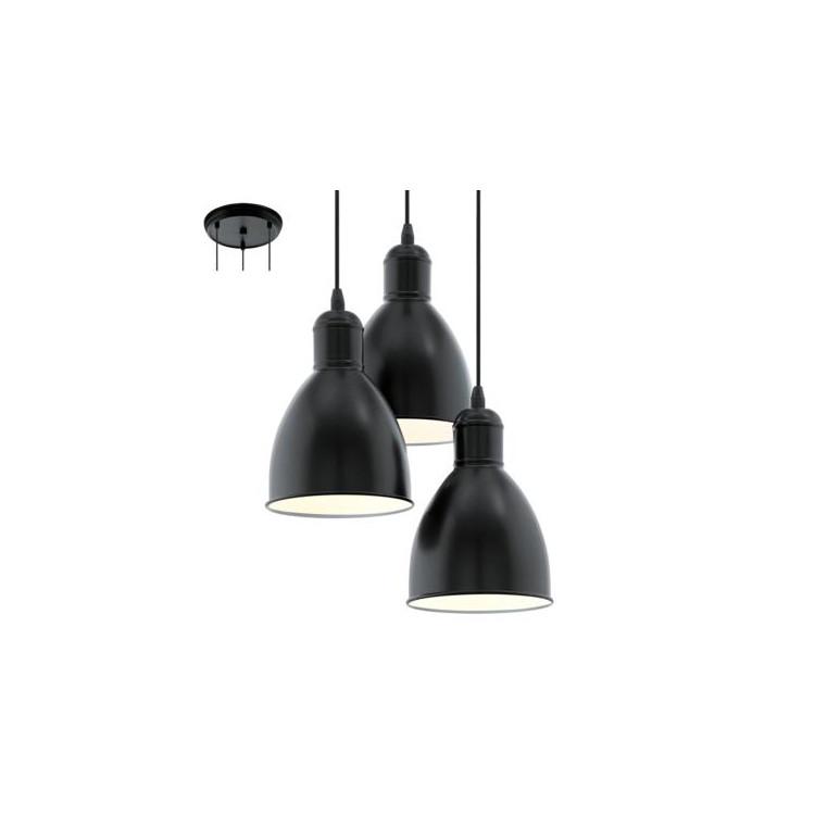 EGLO 49465 PRIDDYzávěsné svítidlo 3x60W E27. Materiál kov v černé barvě. Označení: PRIDDY, Výrobce: Eglo, Kód: 49465