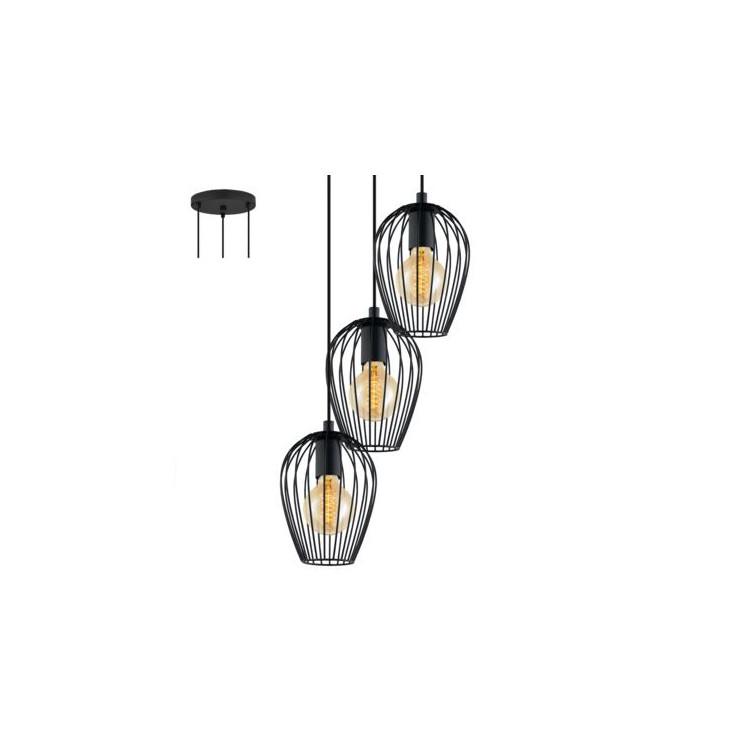 EGLO 49479 NEWTOWNzávěsné svítidlo 3x60W E27. Materiál ocel v černé barvě. Označení: NEWTOWN, Výrobce: Eglo, Kód: 49479.
