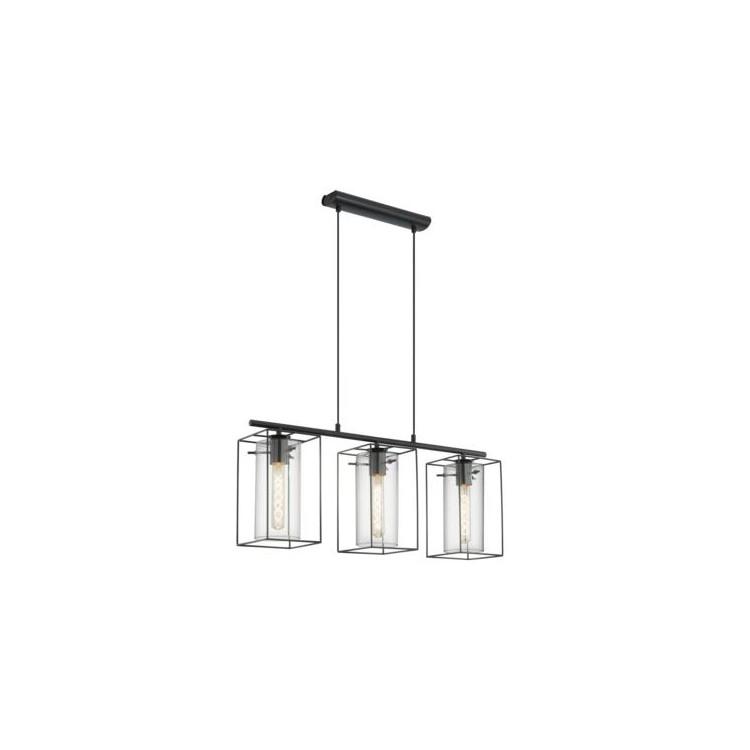 EGLO 49496 LONCINOzávěsné svítidlo 3x60W E27. Materiál kov v černé barvě a čiré sklo. Označení: LONCINO, Výrobce: Eglo, Kó