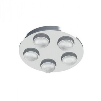 Svítidlo Eglo 94546 ze série LOMBESstropní LED svítidlo 5 x 4,2W, 2400lm. Materiál kov v provedení matný chrom, čirý plast