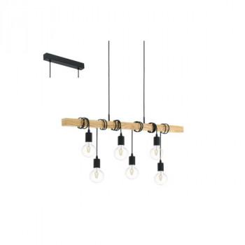 EGLO 95499 TOWNSHEND závěsné svítidlo 6x60W E27. Materiál kov v barvě černé, hnědé dřevo. Označení: TOWNSHEND, Výrobce: Eglo, Kó